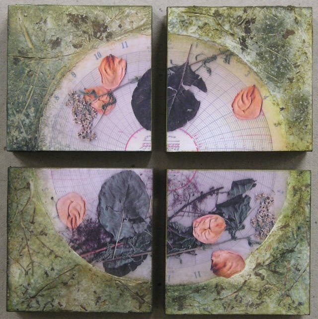 "Plant material, photocopy, acrylic paint, and molding paste on wood panel (each  6"" x 6"")"